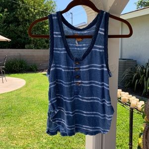 Free People FP Heirloom Linen Tie Dye Tank Top